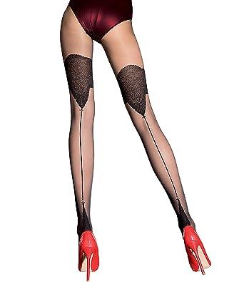 e334bac60 Fiore  quot Danella quot  Mock Suspender Stockings Tights 20 denier Back  Seamed Patterned (2