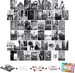Wall Collage Kit Aesthetic Pictures, 50PCS 4x6 Inch, UnityStar Black & White Aesthetic Wall Images Bedroom Decor for Teen Girls, Picture Collage Kit for Wall Aesthetic
