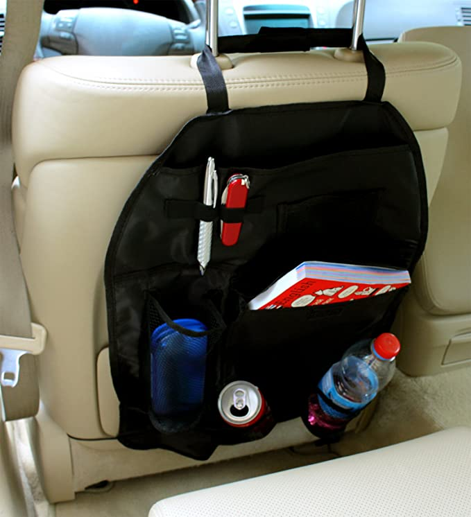 ... organizador BW022 - Respaldo auto Bolsa Utensilios Bolsa para asiento trasero con estante para Auto asiento red Cintas Funda portavasos Incluye sujeción ...