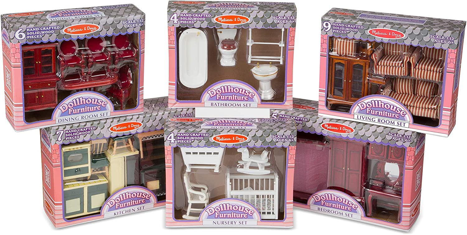 Melissa Doug Classic Victorian Wooden And Upholstered Dollhouse Furniture 1 12 Scale Lovely Victorian Style 35 Pieces 20 H X 14 W X 12 L Furniture Amazon Canada