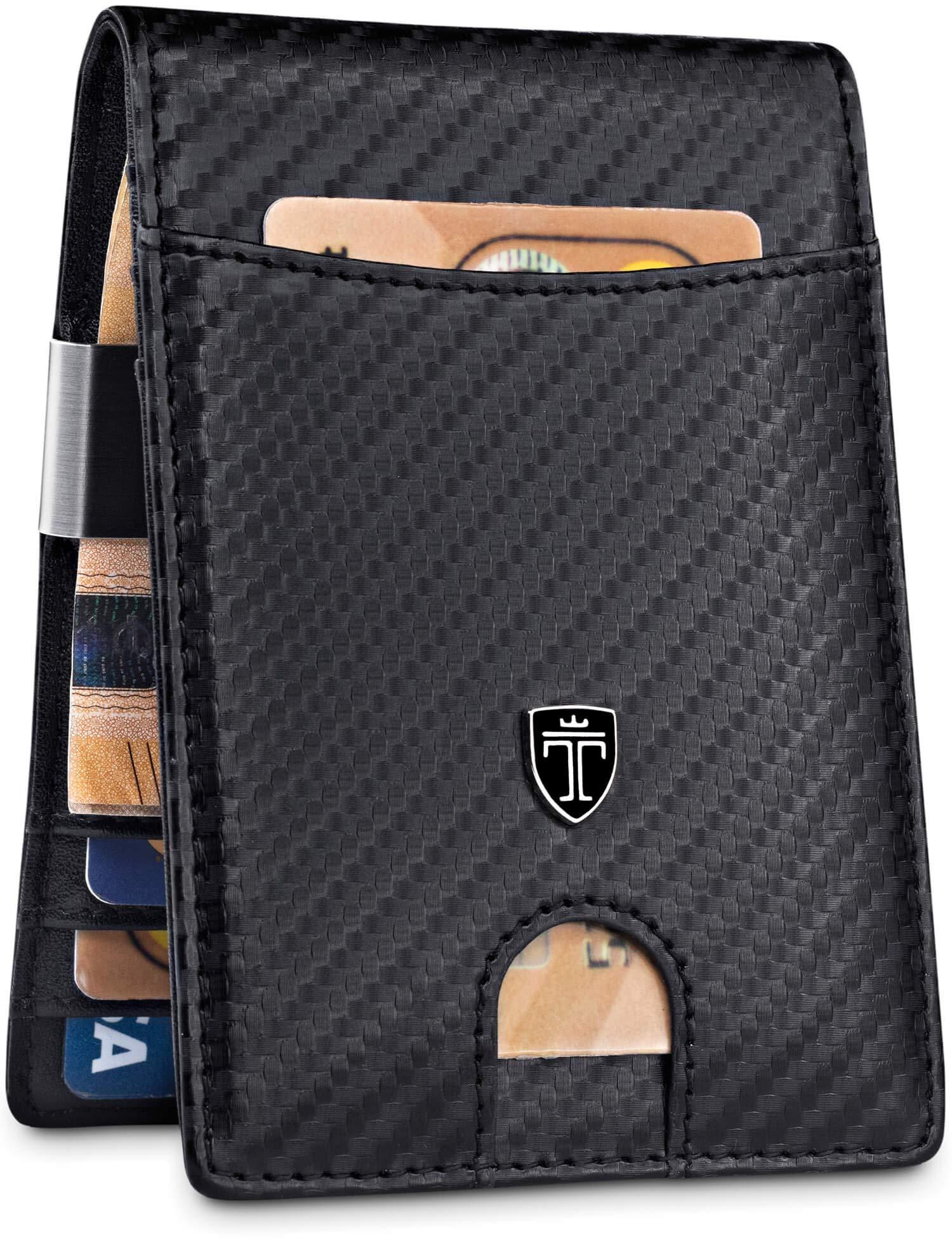 TRAVANDO Money Clip Wallet''RIO'' Mens Wallet Front Pocket Wallet Slim Wallet RFID Blocking | Credit Card Holder | Minimalist Mini Bifold Gifts for Men (Carbon) by TRAVANDO