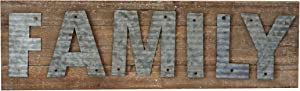 Parisloft Family Reclaimed Barn Wood Plank with Galvanized Metal Word Wall Decor Plaque Sign 24 x 7 x 1.2 Inches(Family)