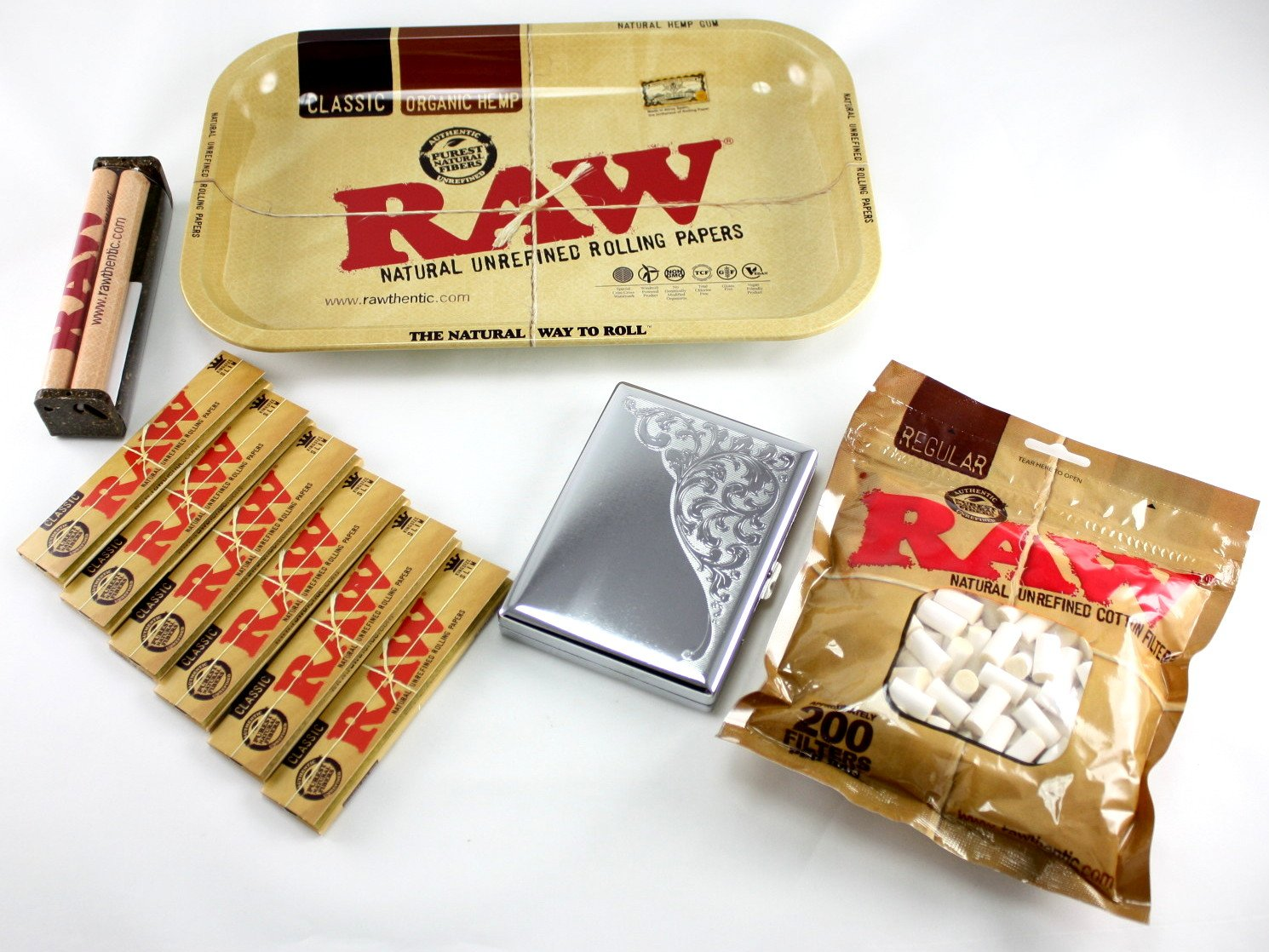 RAW Rolling Tray + 110mm RAW Roller + RAW King Size Rolling Papers + RAW Filter Tips + Skyway Rocco 100's Cigarette Case Bundle / Kit
