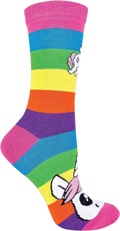 SOCK SNOB 3er Pack Damen Einhorn Socken mit Bunt Regenbogen Streifen Baumwolle Reich Witzig Socken