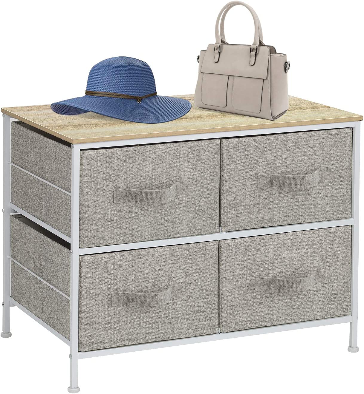 Sorbus Dresser with 4 Drawers – Furniture Storage Tower Unit for Bedroom, Hallway, Closet, Office Organization – Steel Frame, Wood Top, Easy Pull Fabric Bins Beige