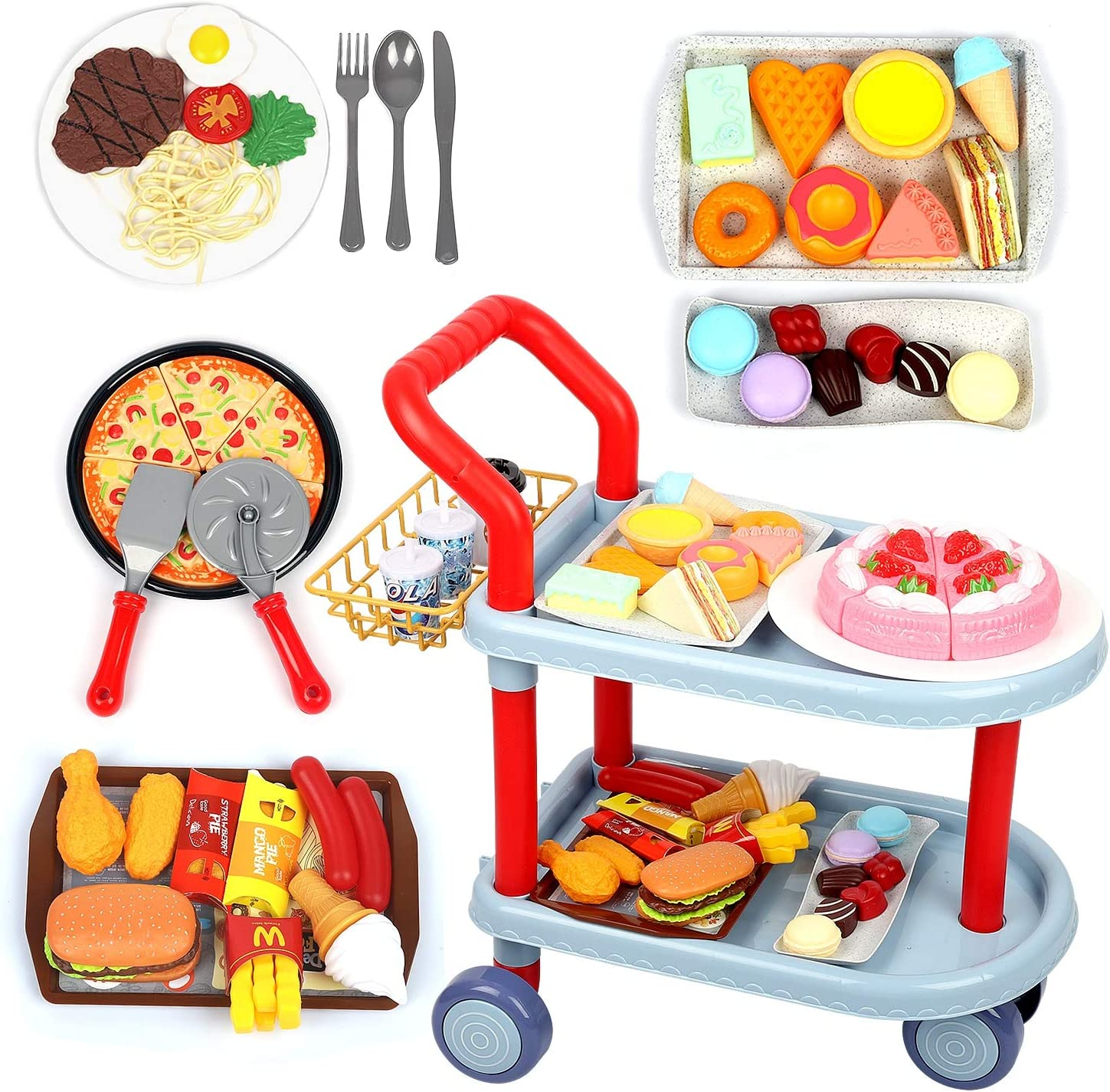 Food cart Toy Set, Large Dining car Toys with 81pcs Food, Kids Pretend Role Play Food Kitchen Playset, Tableware Accessories, Learning Educational Toys for 3 4 5 Years Old Boy Girl