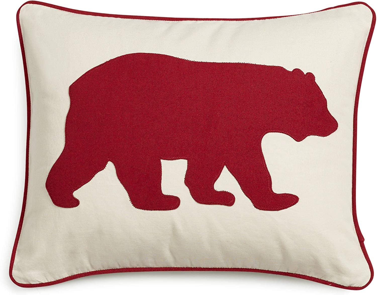 "Eddie Bauer | Home Collection | 100% Cotton Twill Signature Bear Design Decorative Pillow, Zipper Closure, Easy Care Machine Washable, 16"" x 20"", Red"