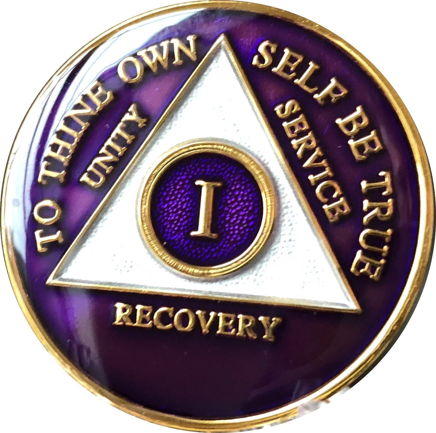 1 Year AA Medallion Metallic Purple Tri-Plate Gold Plated Chip