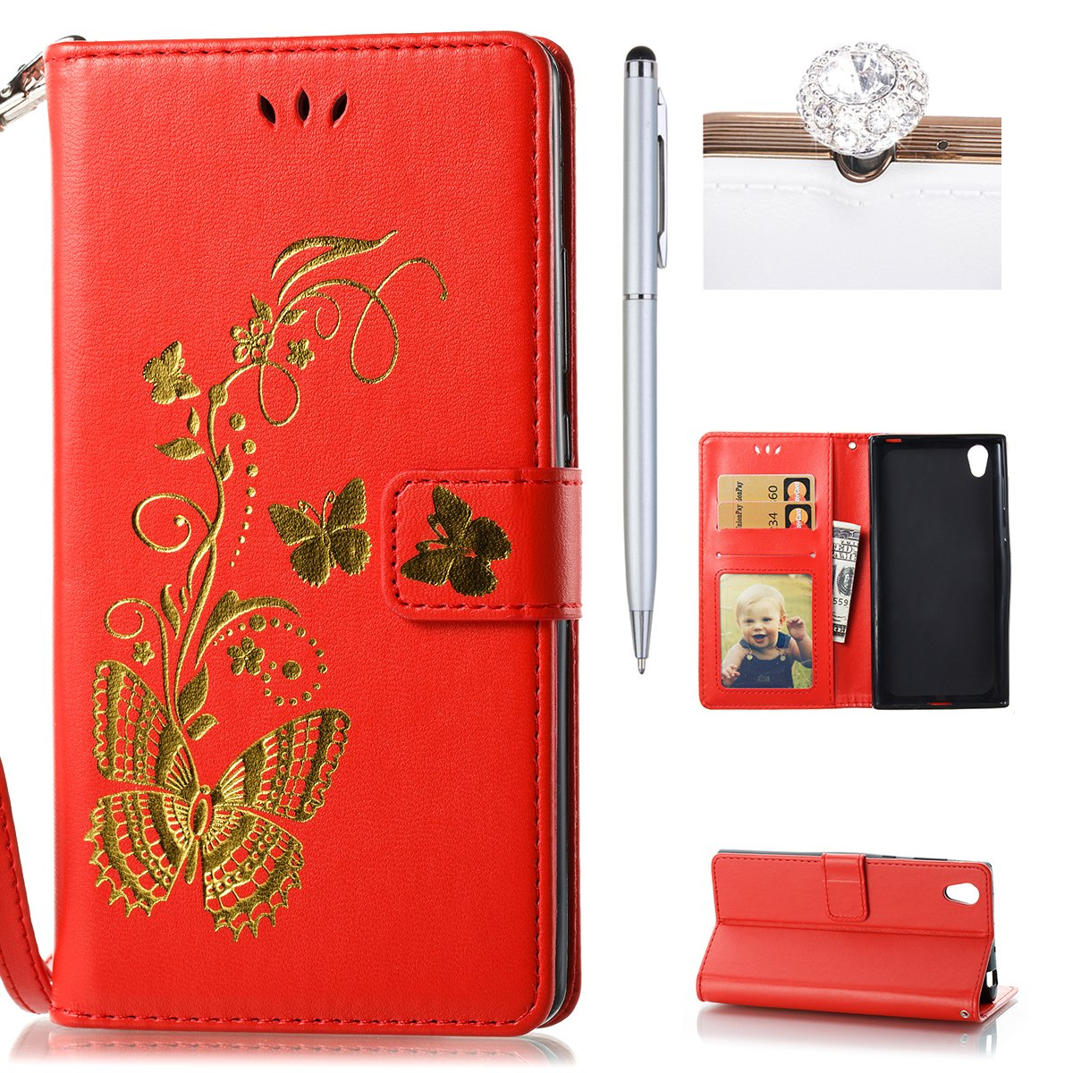 Sony Xperia L1 Case, Felfy Sony Xperia L1 Wallet Flip Case Cover, Sony Xperia L1 Case Premium Leather [Bronzing Technology] Embossed Butterfly Pattern Lanyard Cover with [Magnetic Closure][Flip Stand][Card Slots] Solid Color Folio Bookstyle Kicksand Bumper