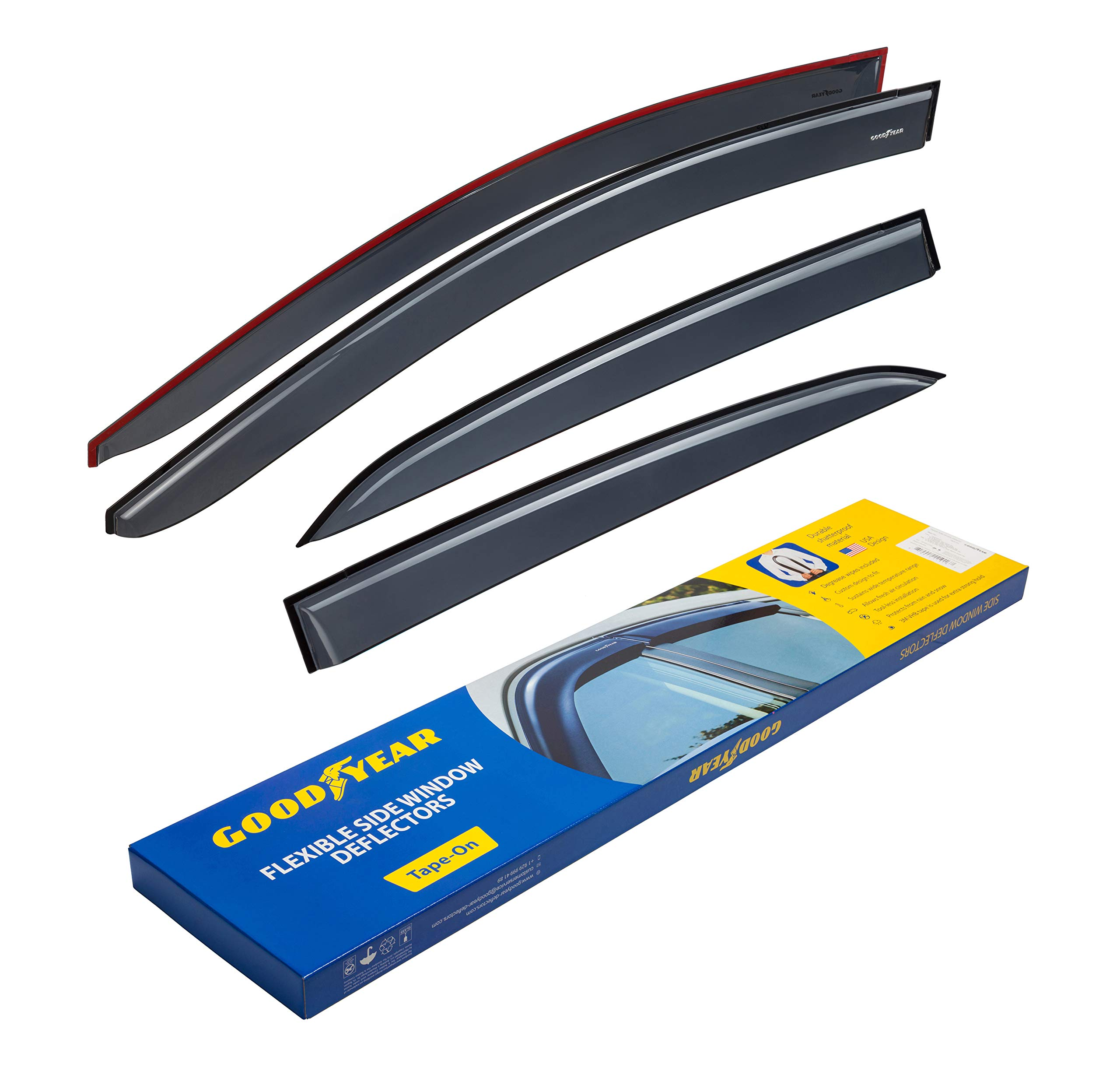 Goodyear Shatterproof Side Window Deflectors for Toyota Corolla Sedan 2014-2019, Tape-on Rain Guards, Vent Window Visors, 4 Pieces - GY003116 by Goodyear