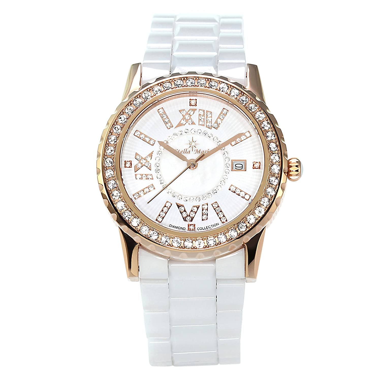 Stella Maris Damen-Armbanduhr Analog Quarz Premium Keramik Diamanten - STM15E8