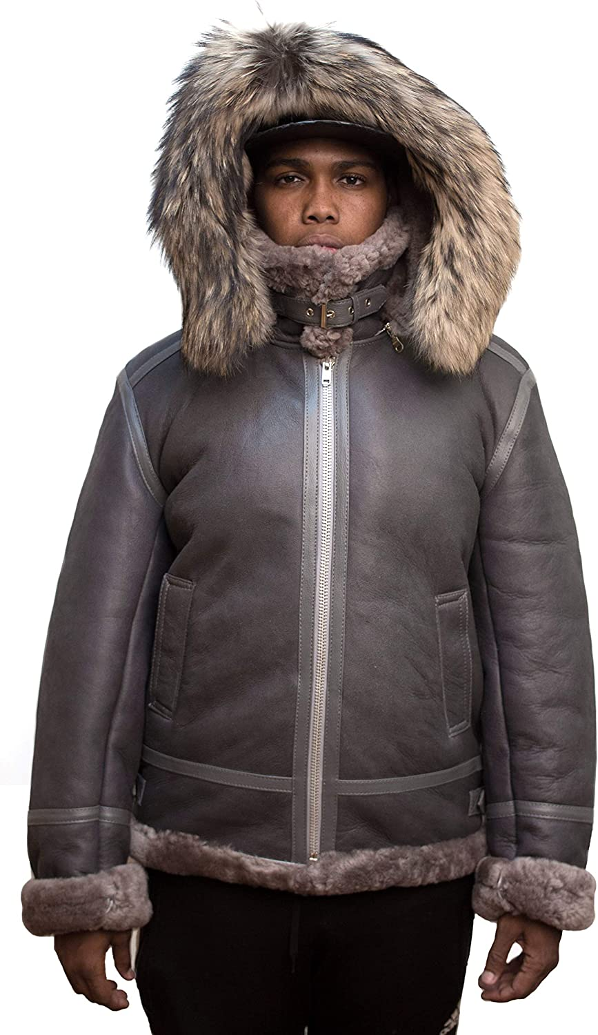 Womens Real Leather Fur Black Shearling Snow Bomber Jacket Outwear  Oversized
