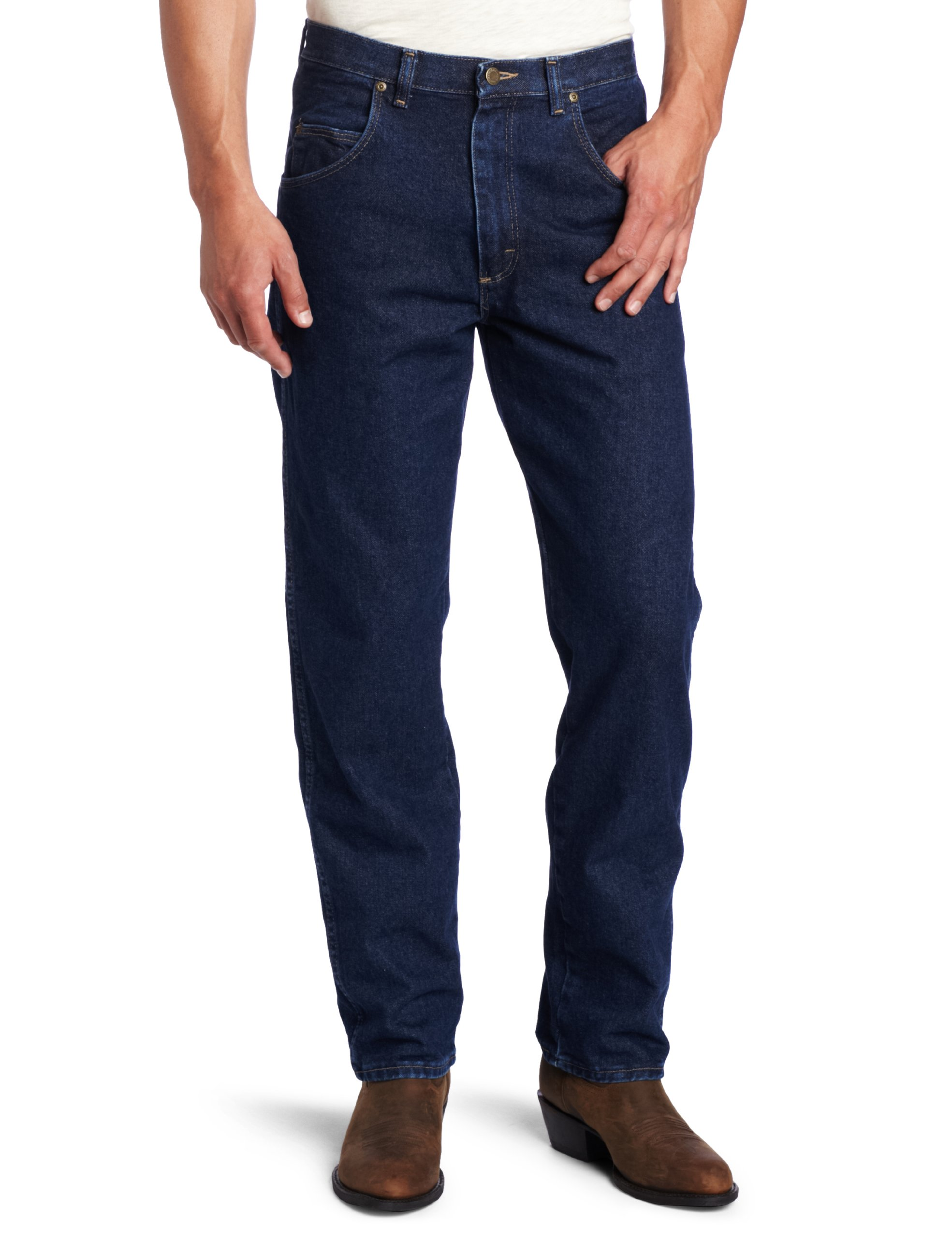 Wrangler Men's Big Rugged Wear Relaxed Fit Jean, Antique Navy, 50x32