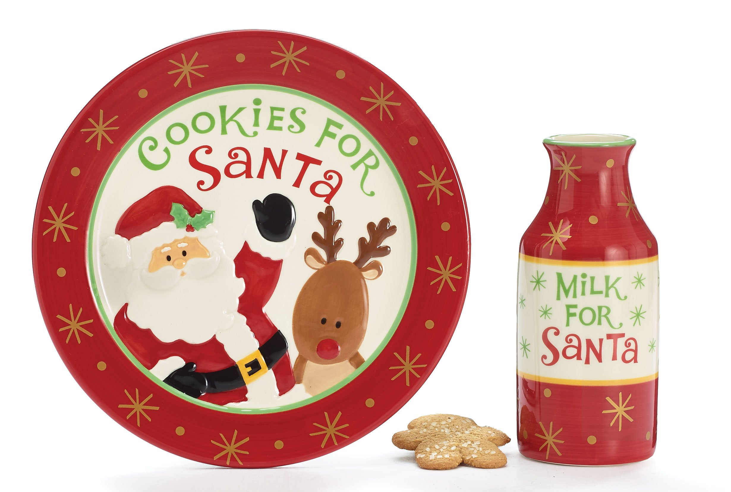 Burton & Burton Cookies For Santa Christmas Gift Set With Plate & Milk Bottle, Red