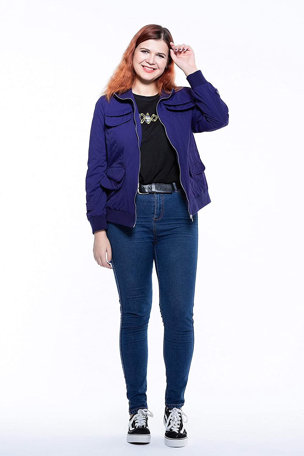The Plus Project Ladies Womens Lightweight Utility Casual Bomber Jacket with Belt