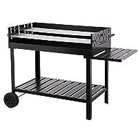 Tepro Atlanta Grillwagen klein schwarz Grillmobil Garten Camping Balkon ✔ Rollen ✔ eckig ✔ rollbar ✔ Grillen mit Holzkohle ✔ mit Rädern