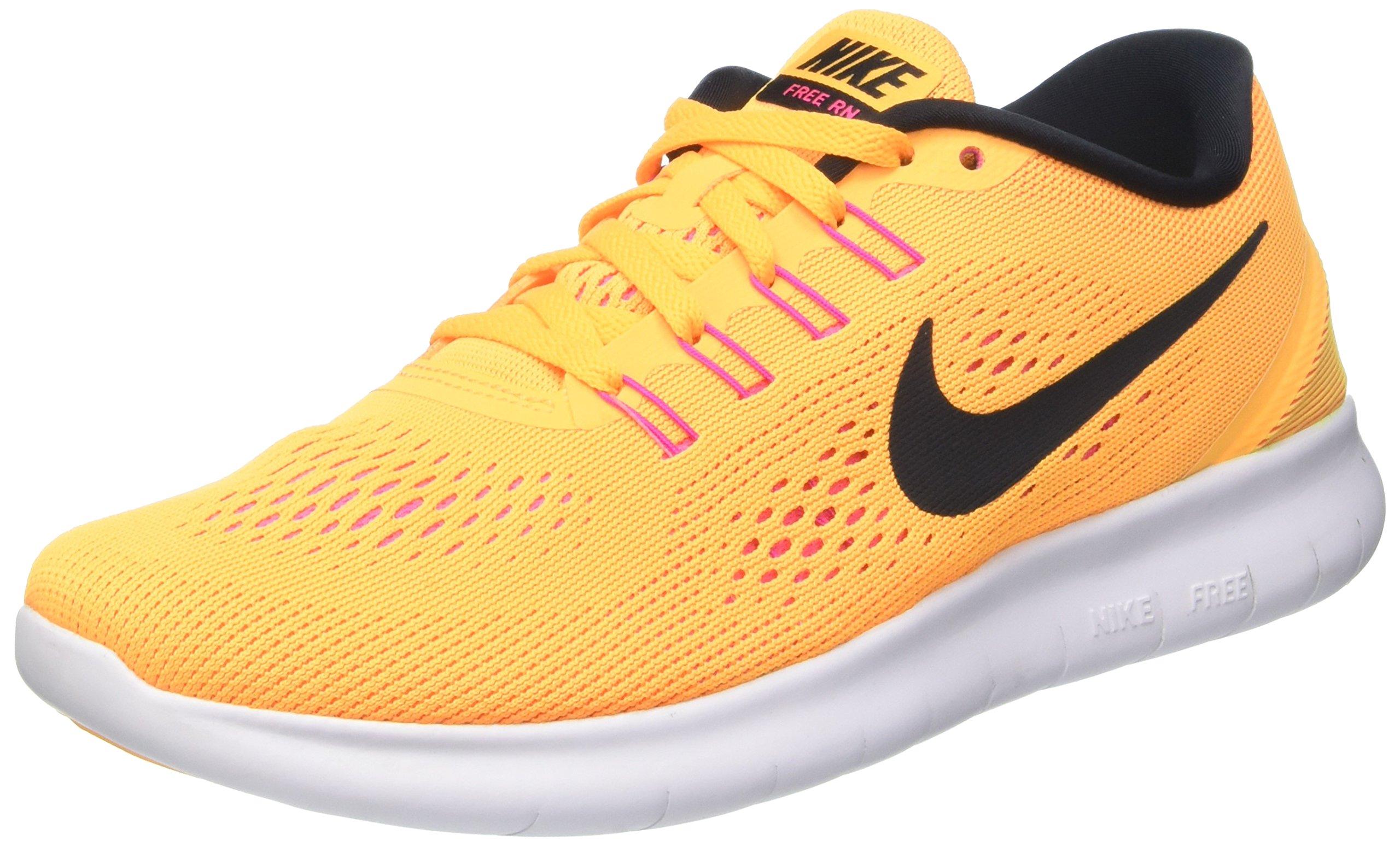 Nike Womens Free RN Running Sneakers Lightweight Casual Shoes 831509 (9 M US, Laser Orange/Pink Blast/Total Orange/Black)