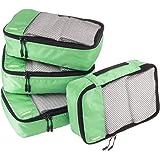AmazonBasics Small Packing Travel Organizer Cubes Set, Green - 4-Piece Set