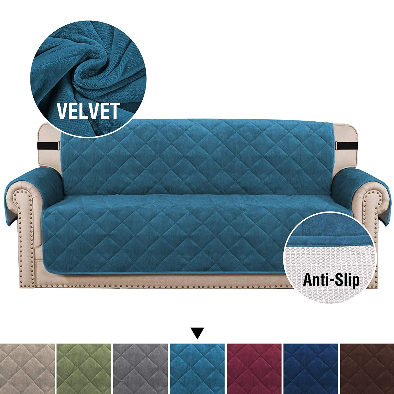 """H.VERSAILTEX Velvet Quilted Sofa Cover Couch Covers for Dogs, Slip Resistant Furniture Covers for Pets, 2"""" Straps/Hook and Side Pockets, Soft and Smooth Sofa Slipcover Protector (Sofa: Peacock Blue)"""