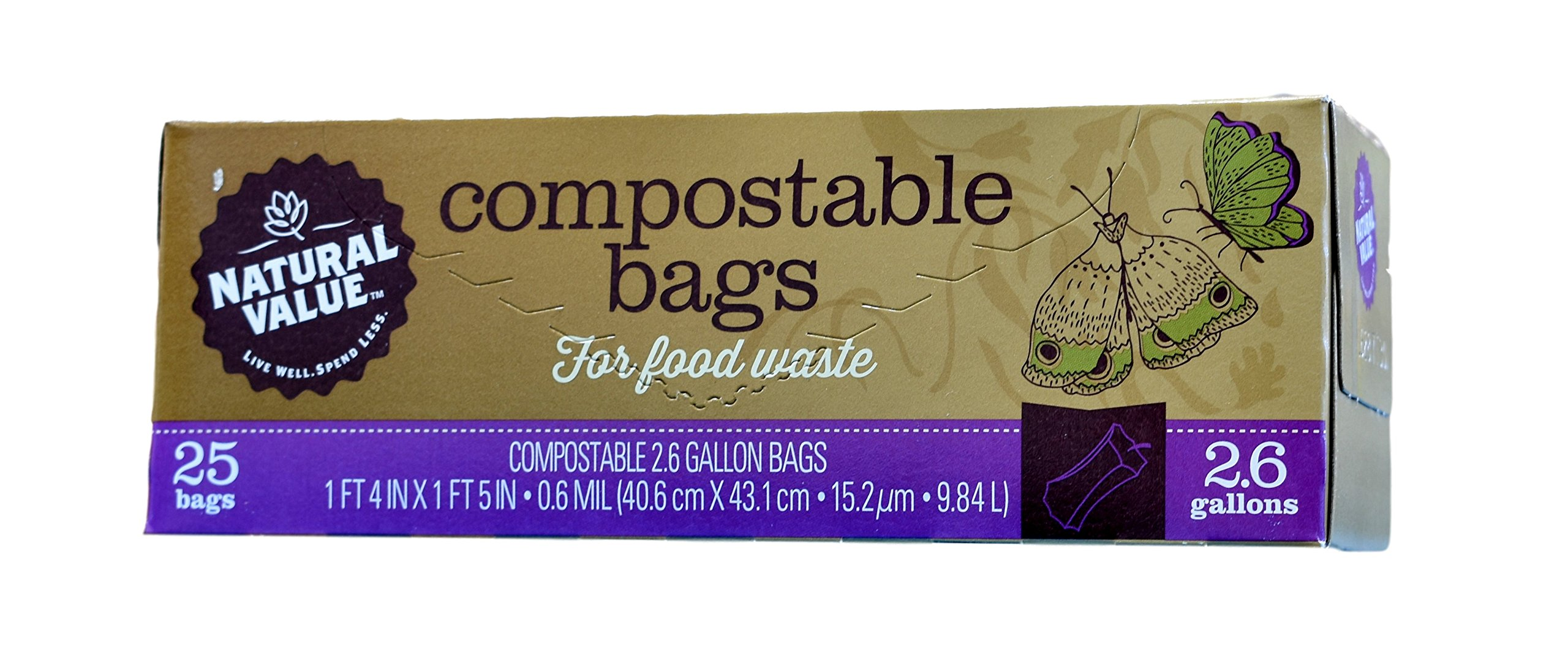 Natural Value - Compostable Bags for Food Waste - 25 Bags - 2.6 Gallons