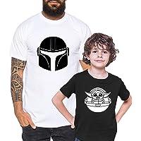 Tee Kiki Mandalorian Yoda - Camiseta de Pareja Padre Hijo niño bebé Body cumpleaños - Look de Pareja