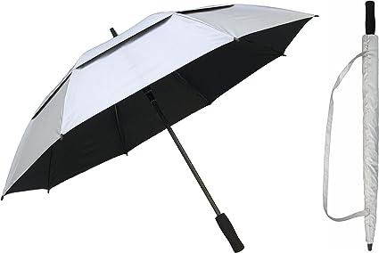 UV Protective SPF50 Two-Tone Auto Open Walking Length Umbrella Black /& Silver