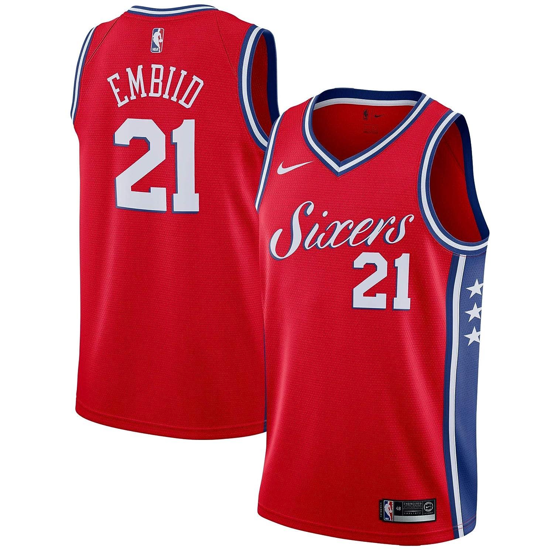 a4c6547e13fc Amazon.com   Nike Joel Embiid Philadelphia 76ers Red Swingman Statement  Edition Jersey - Men s Small   Sports   Outdoors