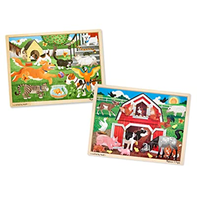 Melissa & Doug Animals Wooden Jigsaw Puzzle Sets - Pets and Farm (24 pcs each): Toys & Games