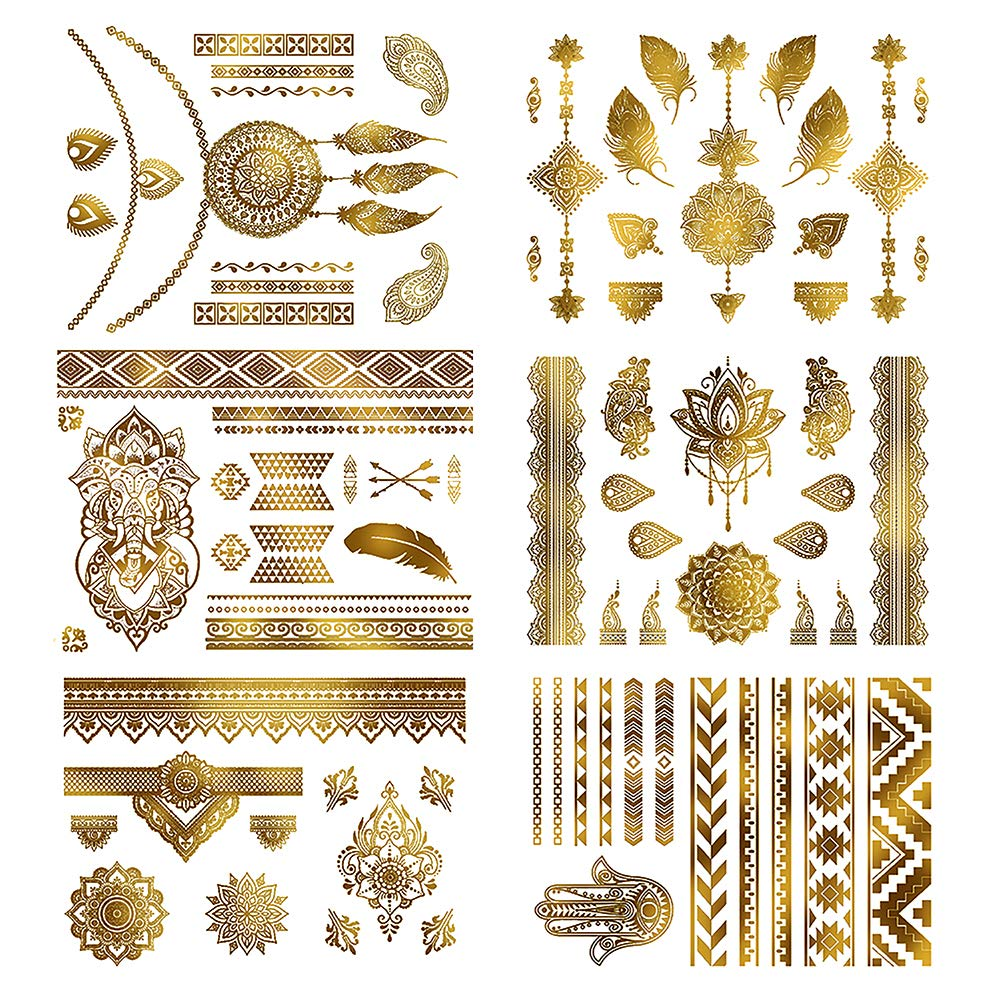 EXTREE Gold Tattoos Henna Tats - Over 85+Shimmer Intricate Metallic Lighting Flash Temporary Tattoos