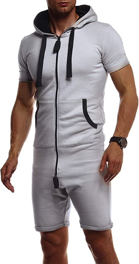 Herren 3D-Druck Einteilig Overall Jumpsuit Jogging Zipper Kurzarm kurze Hose ZO
