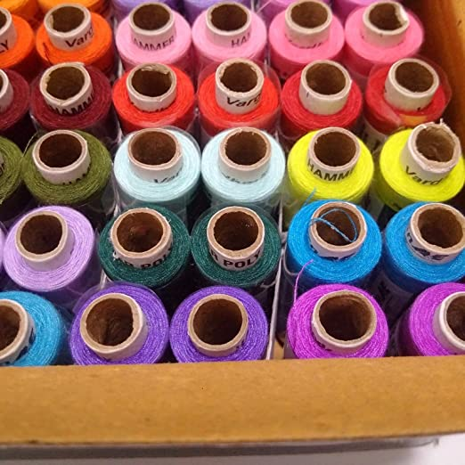Lot of 100 Assorted Tubes Spools 100/% Polyester 2 ply Sewing Machine Thread Yarn