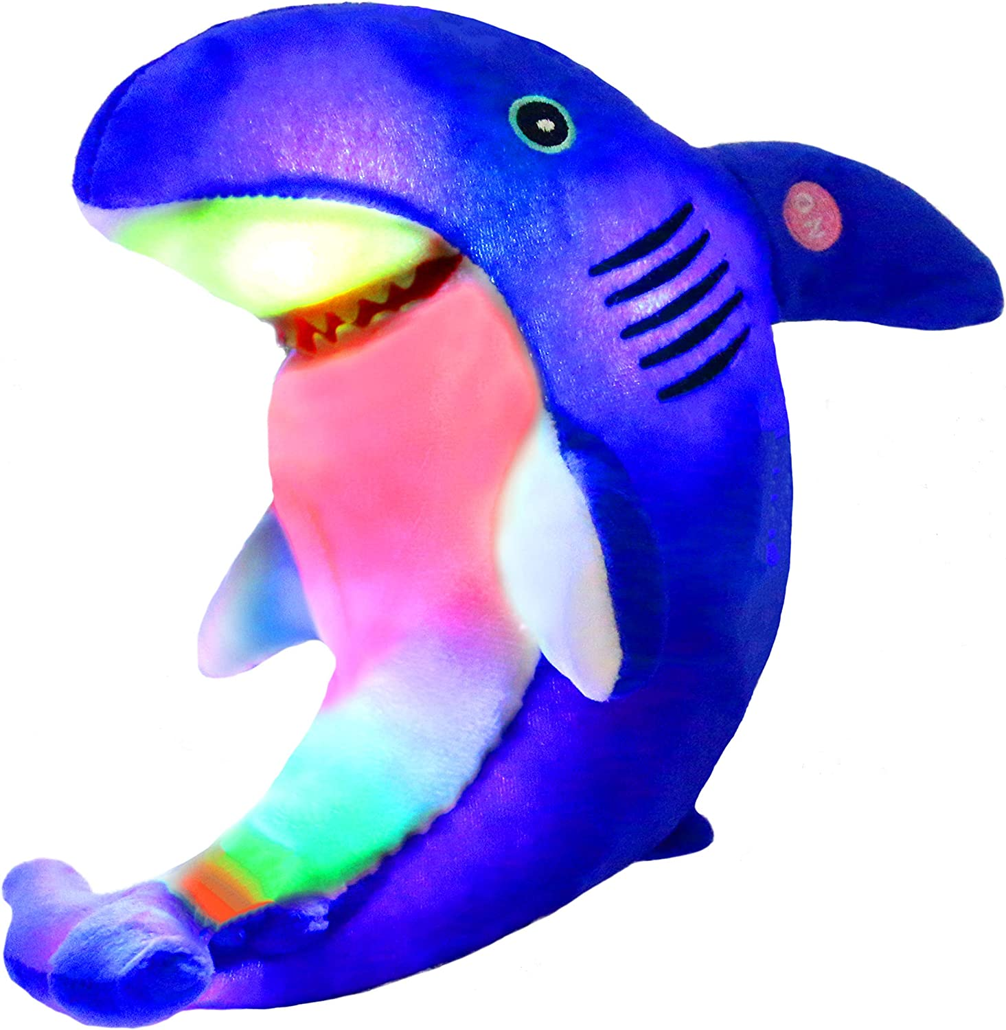 Bstaofy LED Blue Shark Stuffed Animal Glow Plush Ocean Species Toy Light up Afraid of Dark Birthday for Kids, 10 Inches