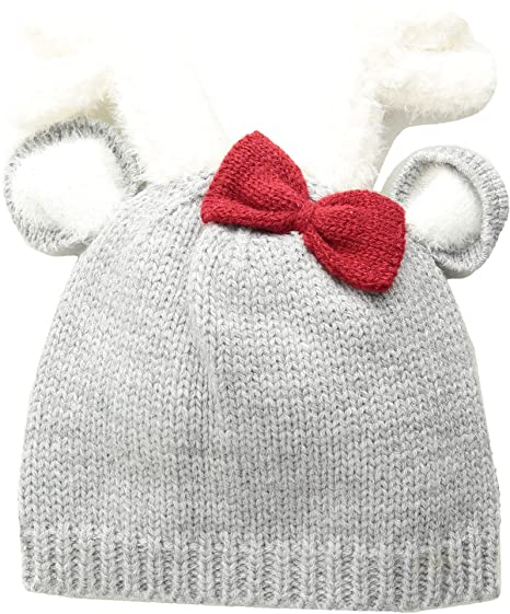 5b3635e2de0ca0 Amazon.com: Mud Pie Baby Girl's Deer Bow Knitted Hat (Infant) Gray 6 ...