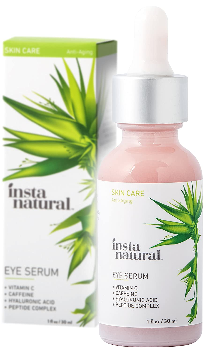 InstaNatural Eye Serum For Dark Circles & Puffiness - Reduces Bags, Wrinkles, Fine Lines, Sagging Skin & Puffy Eyes - With Vitamin C, Caffeine, Plant Stem Cells, Astaxanthin & Kojic Acid - 30 ml B00Q306R4O