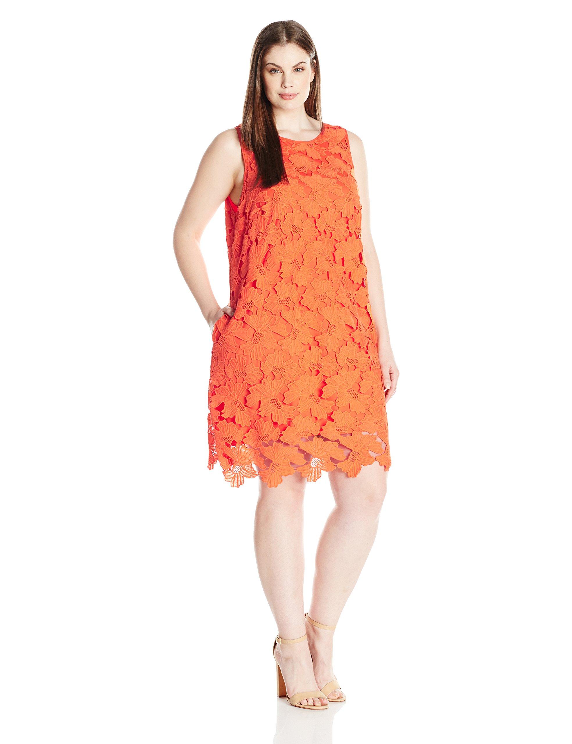 Julia Jordan Women's Plus Size Lace Shift Dress, Orange, 20W by Julia Jordan