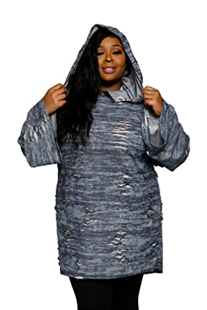 Hadari Womens Plus Size Distressed Oversized Hoodie Sweater Dress