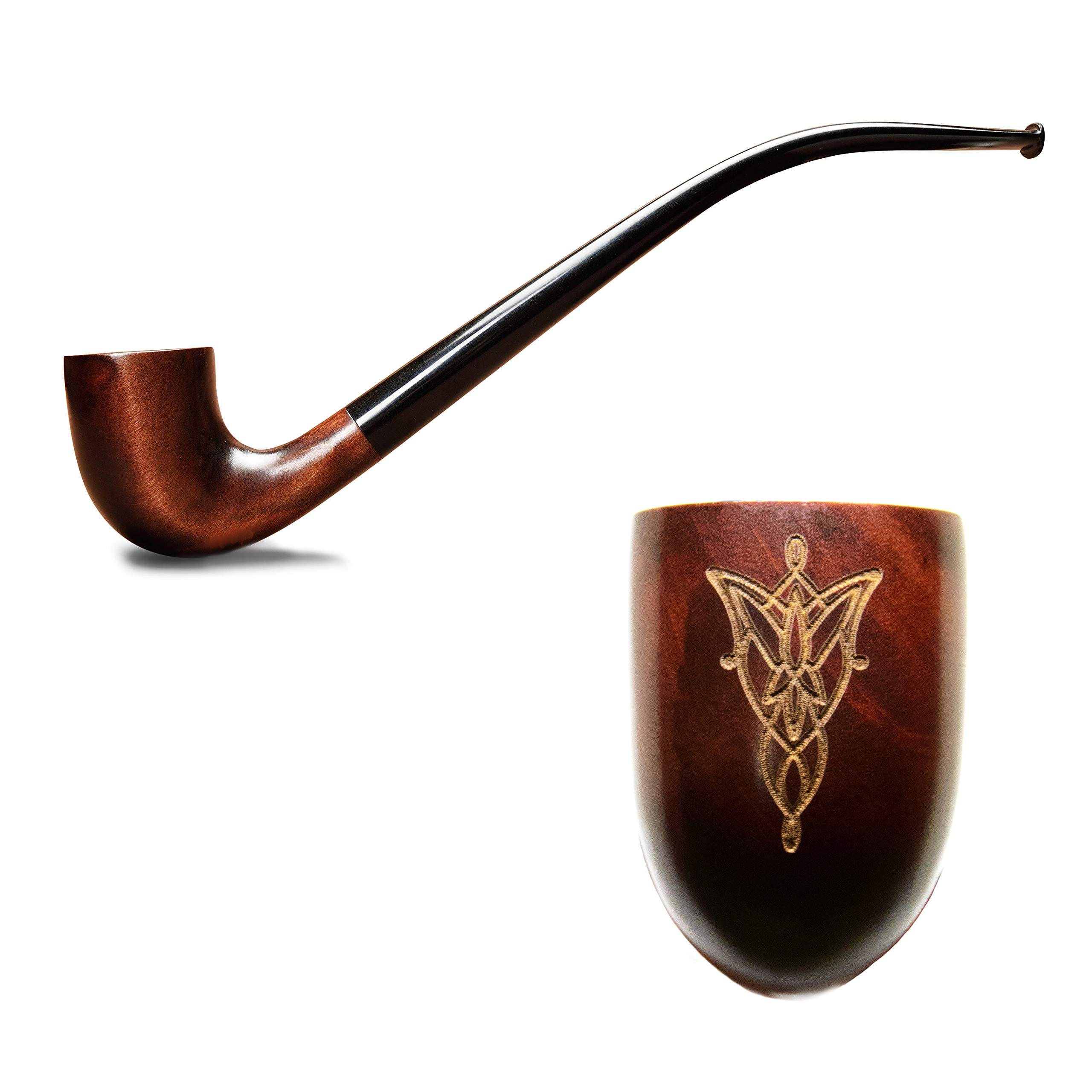 Tobacco pipe engraved with Evenstar from Lord of the Rings in Gandalf style handmade from pear wood Churchwarden smoking pipe