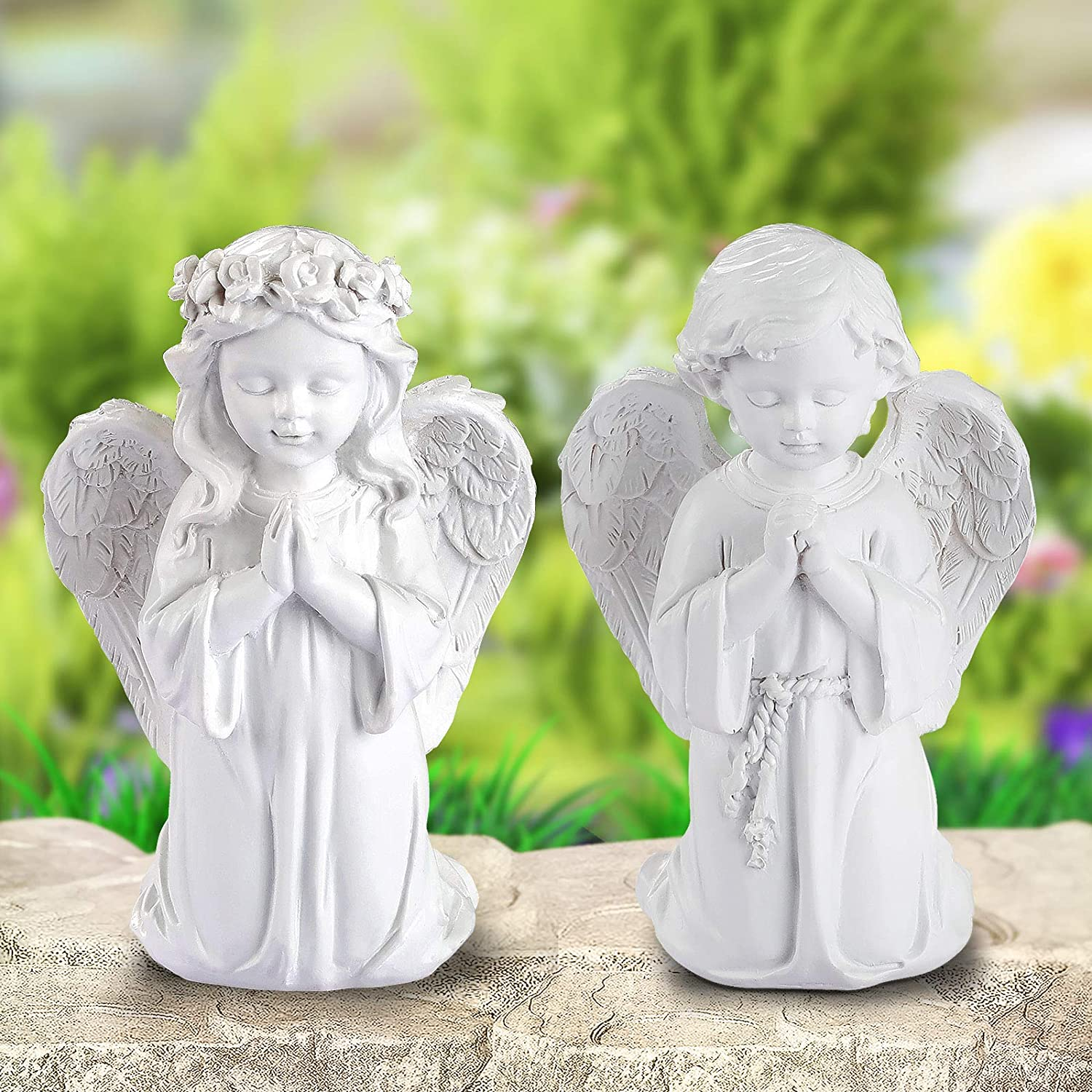Giftchy Praying Angel Statue Set of 2, Adorable Boy and Girl Angel Figurine for Home & Garden Decorations, Memorial Resin Angel Sculpture for Outdoor and Indoor Decor & Wedding Gifts (6