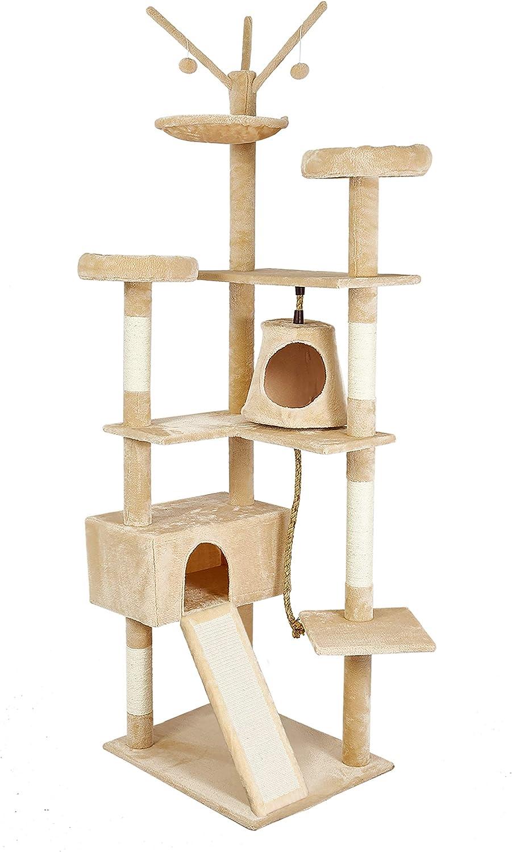 Rascador Alto para Gatos con Tobog/án Cubierto de Sisal Nido C/ómodo 2 Habitaci/ón 210cm Beis Meerveil /Árbol para Gatos