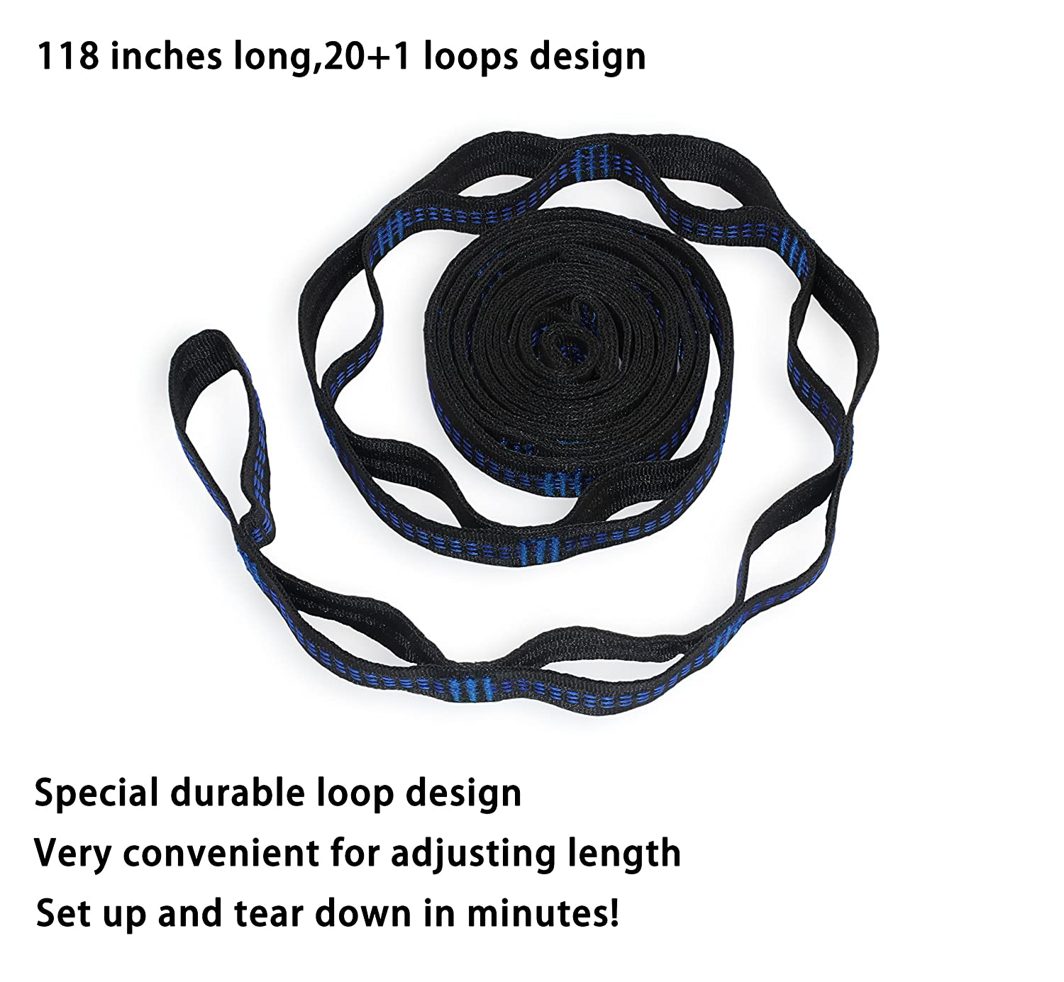Hammock Straps with 2 Carabiners No Stretch Polyeste 20 ft Long /& 42 Adjustable Loops Lightweight /& Tree Friendly 2000 LBS Combined Breaking Strength Tested WoneNice Tree Straps for Hammock/&Swing