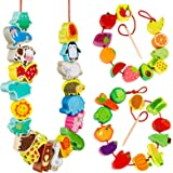 Montessori Educational Threading Toys Wooden Stringing Farm Animals Fruits Lacing Beads Preschool Toy for Toddler 18 Month 1