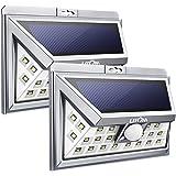 Litom 24 LED Außen Solar Power Lampe, Weitwinkel Design Wireless Motion Sensor Solar Licht Wasserdicht Sicherheit Lampe mit 3 LEDs Beide Seiten für Garten, Patio, Deck, Hof, Auffahrt(2 Stücke)