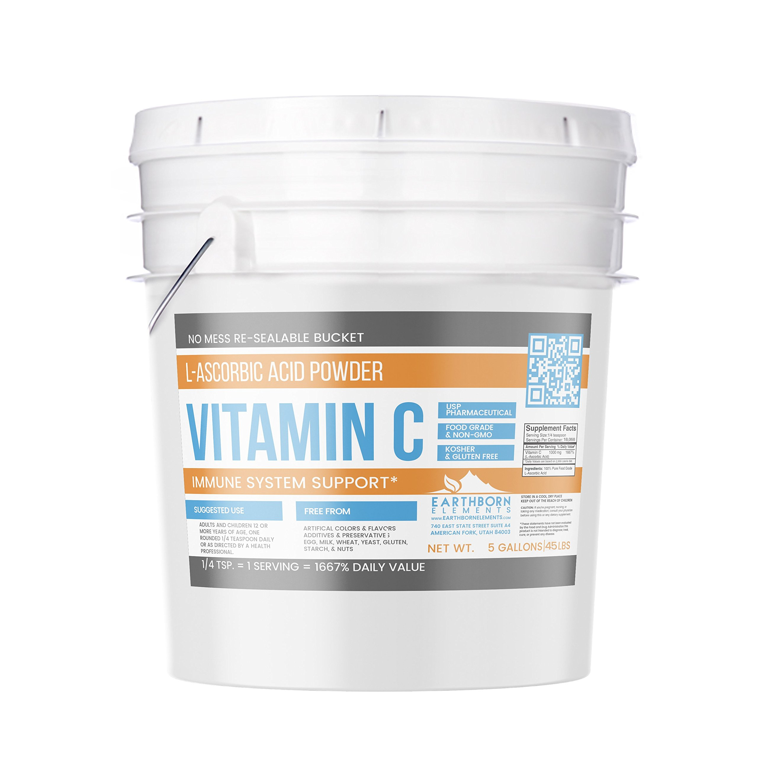 Vitamin C Powder (L-Ascorbic Acid) (5 Gallon (45 lb.)) by Earthborn Elements, Resealable Bucket, Antioxidant, Boost Immune System, DIY Skin Care, Satisfaction Guaranteed