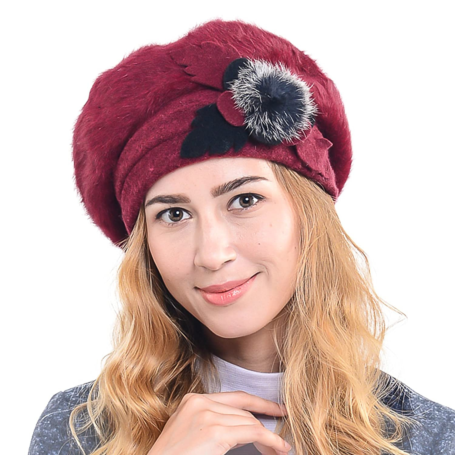 Beret Beanie for Winter C020 Women/'s French Beret 100/% Wool Cloche Hat