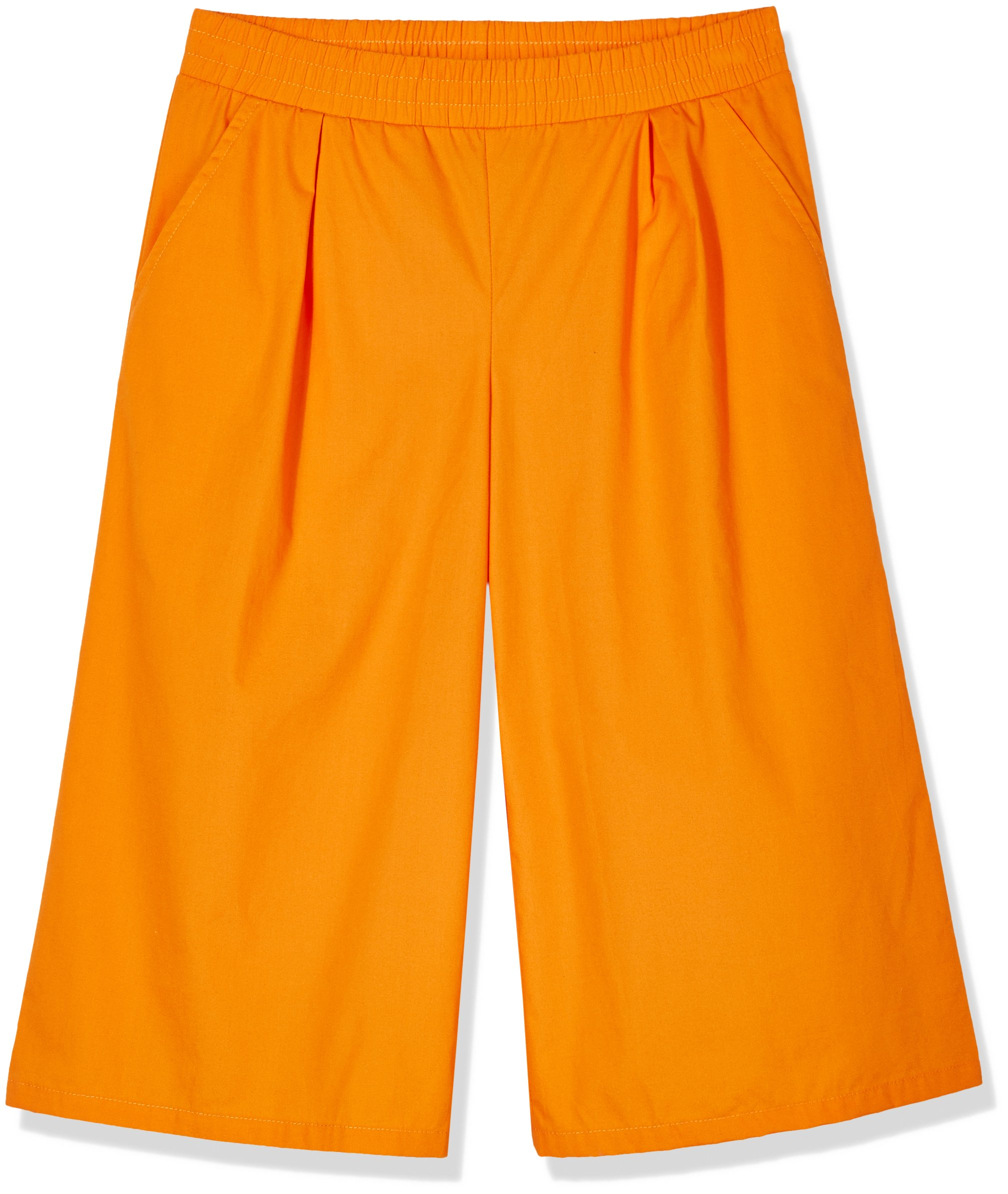 A for Awesome Girls 3/4'' Length Wide Leg Cropped Pants with Pockets Small Orange