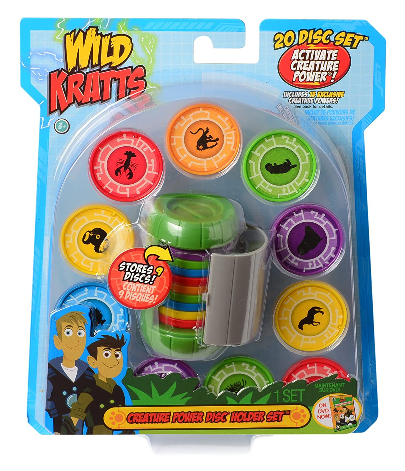 image relating to Wild Kratts Creature Power Discs Printable named Wild Kratts Toys Creature Electricity Disc Holder Preset with 20 Discs - Chris Kratt