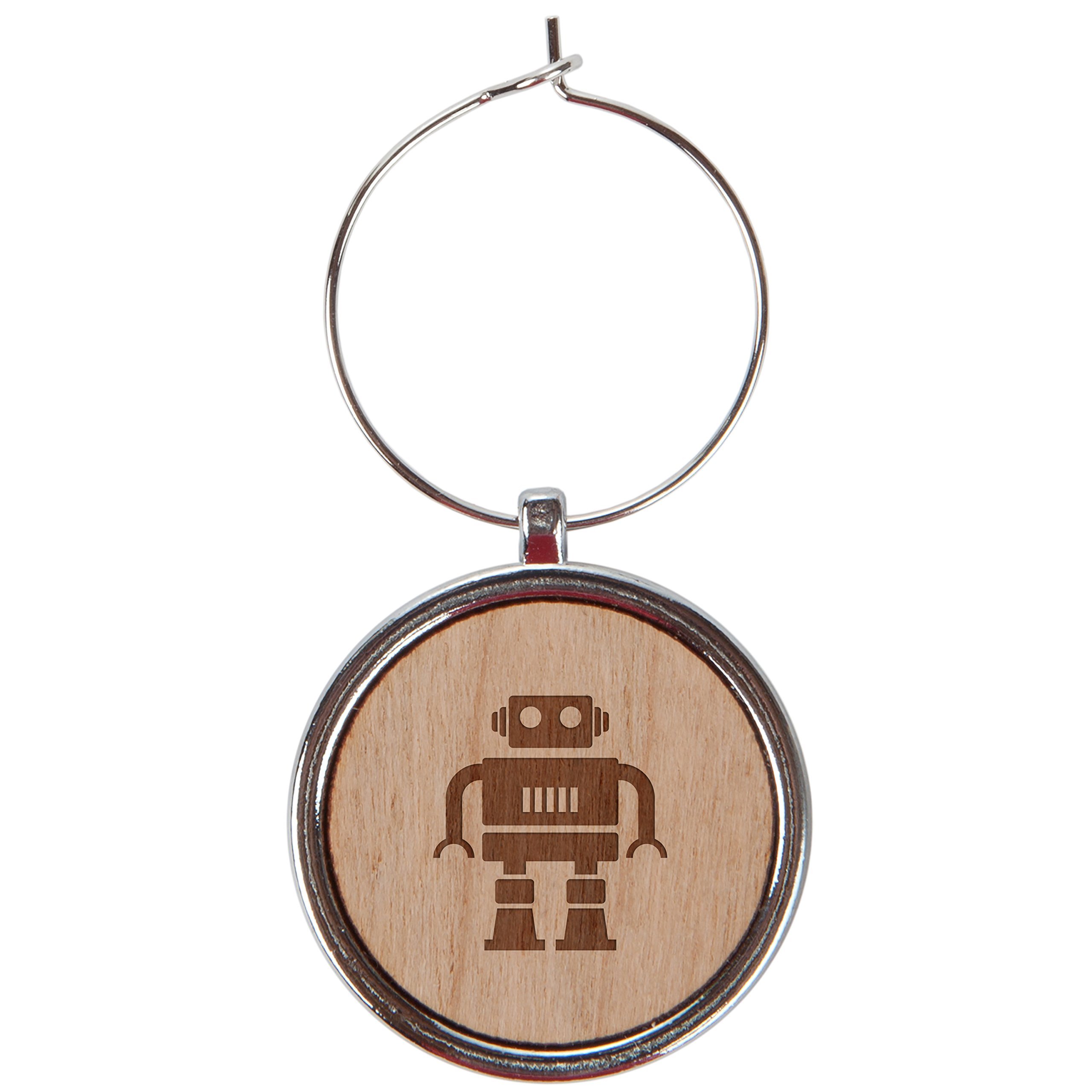 Robot Wood Wine Glass Charms Set Of 6-1 Inch Laser Engraved Wine Glass Charms For Stemmed Wine Glasses - Wine Glass Charm Gift