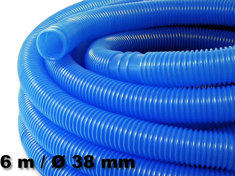 WilTec Manguera Piscina Azul con Manguitos 38mm 6m 190g/m Tubo ...