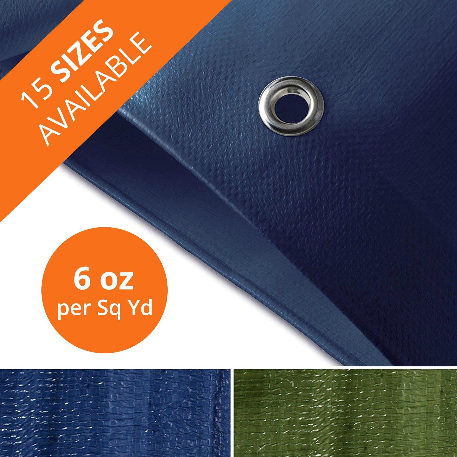 Tarps Medium Duty Waterproof | Ground Tent Trailer Cover | Large Tarpaulin in Multiple Sizes | 6 oz/Sq Yd | Blue - 10' x 12'