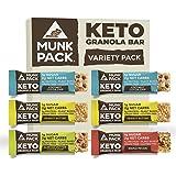 Munk Pack Keto Granola Bar, Variety Pack, 6 Pack, 1g Sugar, 2g Net Carbs, Keto Snacks, Chewy & Grain Free, Plant Based…